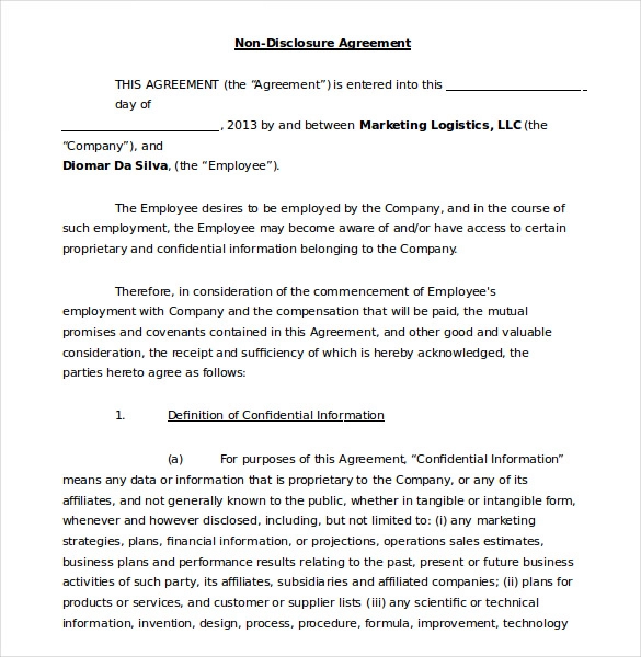 Non Disclosure Agreement Templates 11 Free Word Pdf Samples Non Disclosure Agreement Disclosure Agreement
