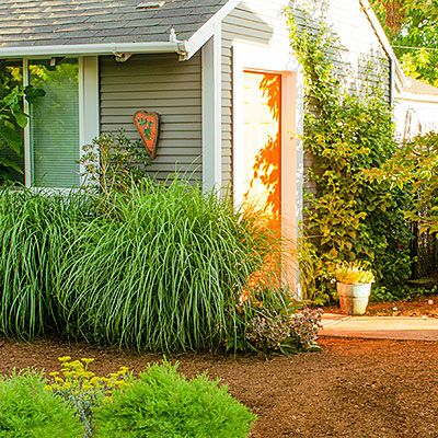 ELEMENTS OF A DOG-FRIENDLY GARDEN Use paw-friendly paving materials, such as splinter-free bark mulch and flagstone. Here, a 4-inch-thick layer of bark mulch along with hard-packed decomposed granite keep the unplanted expanses weed-free.  Comfy mulch: Small cedar chips are easy on paws yet large enough so they won't cling to silky coats.