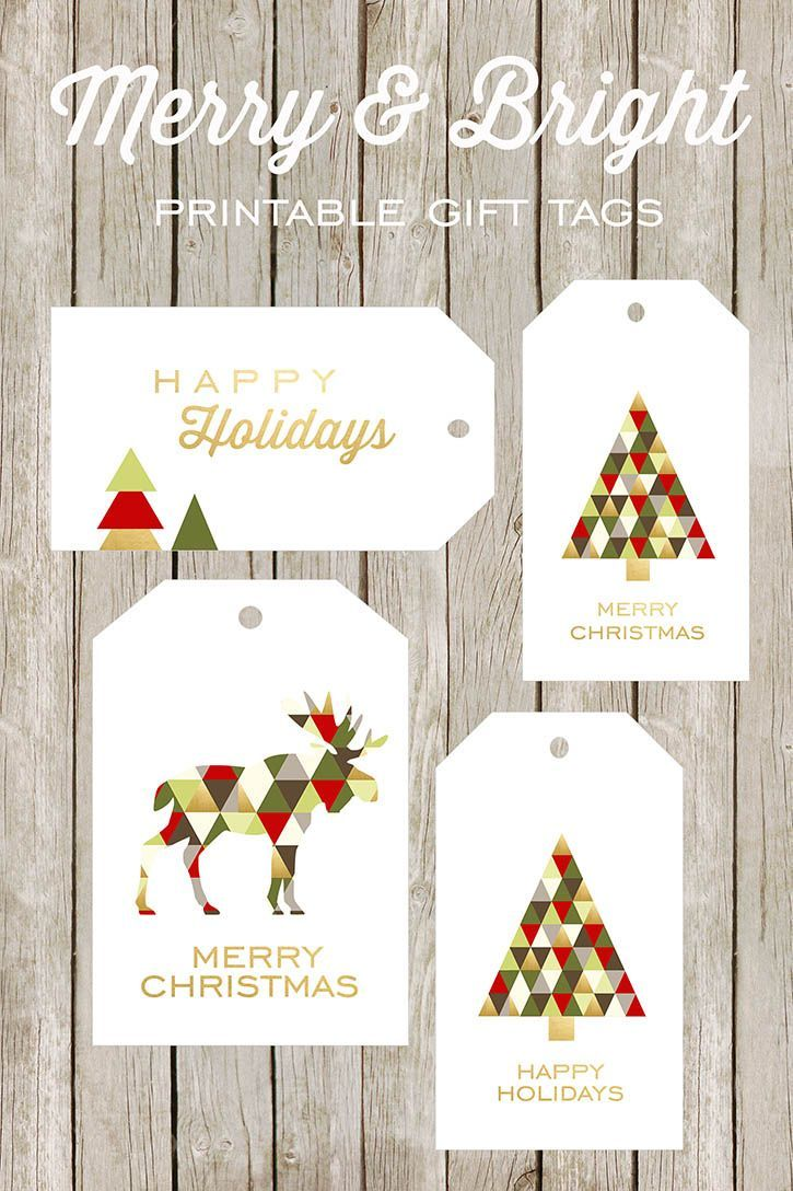 Merry and Bright Printable Gift Tags   Christmas   Pinterest ...
