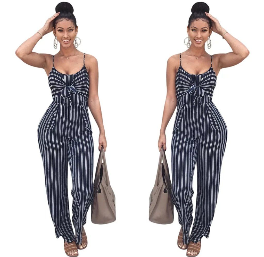 1a9b8f9041 New Women Wide Leg Jumpsuits Rompers Sexy Cut Out Striped Bow Tie ...