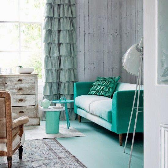 fotos de decoración de salas en color aguamarina