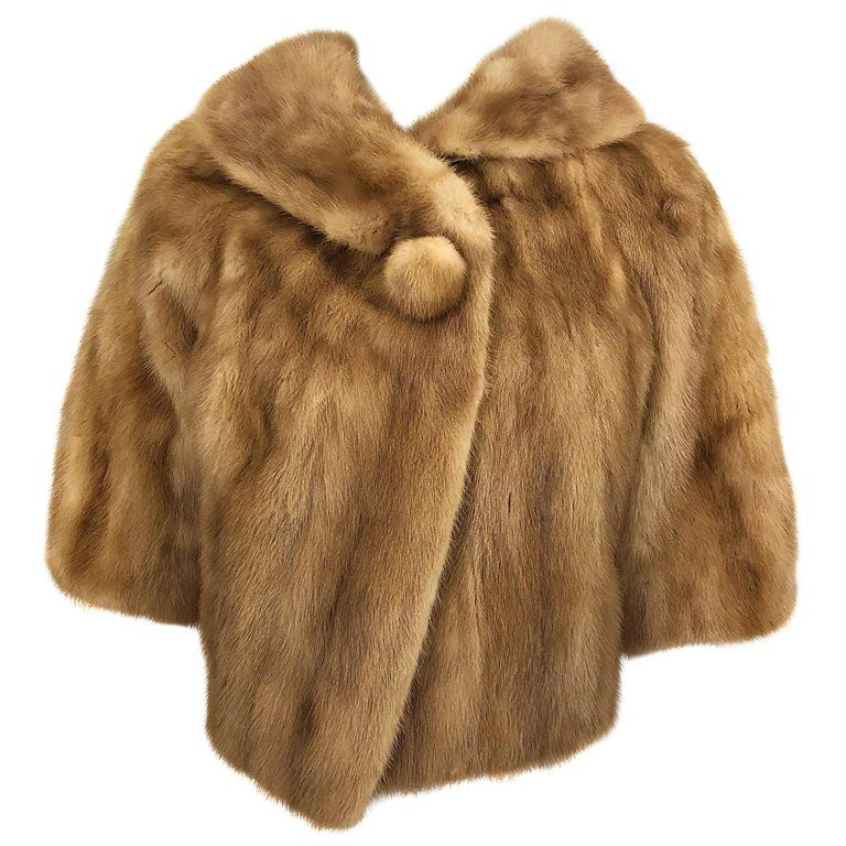 e4af85dd097 1950s Mink Fur Light Brown Honey Colored Vintage Cropped Chubby Bolero  Jacket