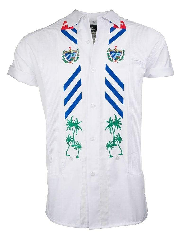 LIMITED EDITION COLLARED EDITION A collaboration between two Cuban-Americans that promotes unity and the love for the Cuban Culture. Introducing the Dj Melao ❌ Y.A.Bera Clothing Limited Edition White Lux Skies in Kúbà short sleeve Guayabera shirt. Our Lux Linen fabric handmade into the iconic guayabera shirt with modern features. Short-Sleeve with Snap-Down Collar and two conveniently placed bottom pockets for your personals. Lightweight and Luxurious Linen blend in White that's soft to the touc