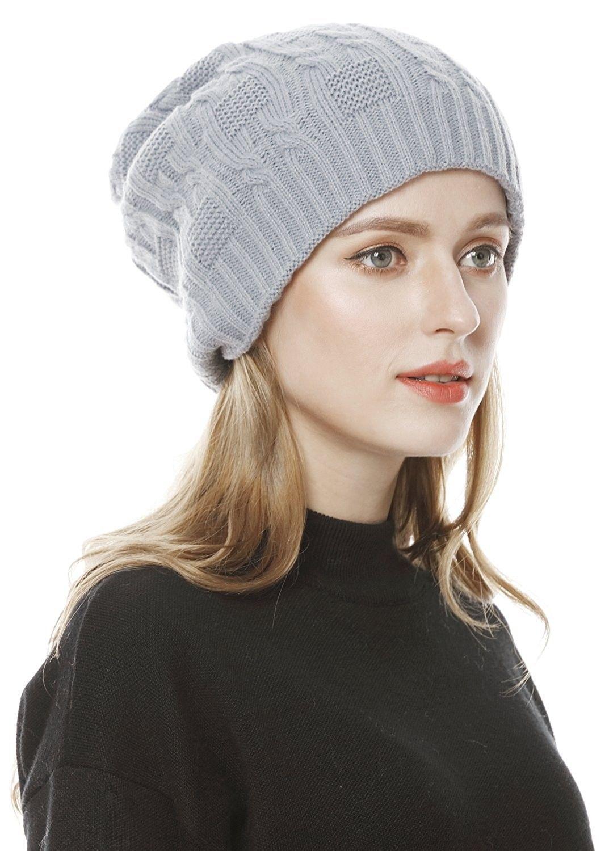 a41da42cbf2e5a Hats & Caps, Women's Hats & Caps, Skullies & Beanies, Unisex Slouchy Cable  Knit Beanie Cap Oversized Thick Winter Beanie Hat - Gray - C9186R6Q28K #hats  ...