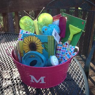 Garden Gift Basket I Put Together With Items From Michaels And Target For My Niece Marys 4 Year Old Birthday Used Cricut The Monogram