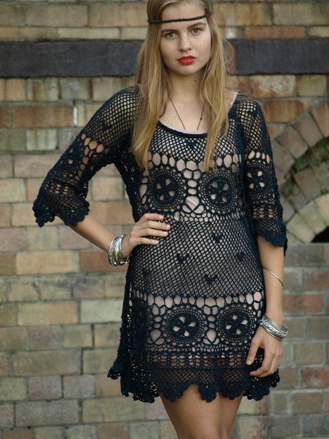 Diy Black Crochet Lace Dress Free Pattern Food Pinterest