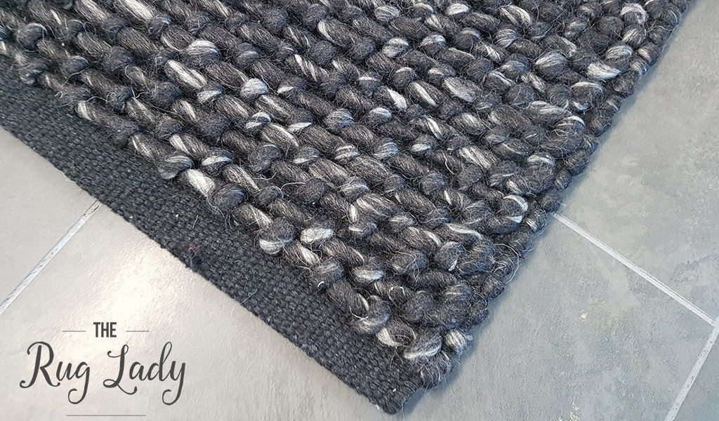 Essence Armani Multi Weave Charcoal Black Felted Wool Rug In