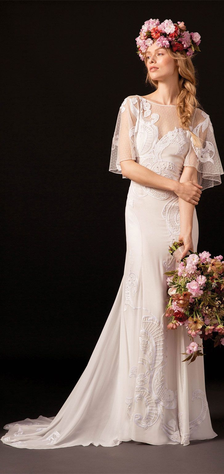 bohemian dotty tulle and light silk georgette cape backed gown embellished fit and flare wedding gown with short train #weddingdress #wedding #weddinggown