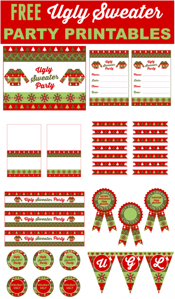 Free Ugly Sweater Party Printables | Party printables, Ugliest ...