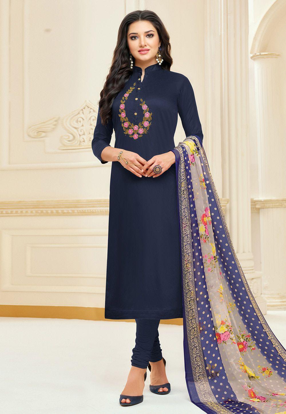 085f28d9b8 Buy Navy Blue Chanderi Churidar Salwar Kameez 166966 online at lowest price  from huge collection of
