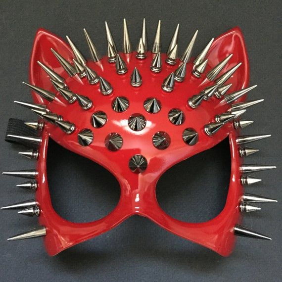 Steampunk Red Cat Woman Masquerade Mask Cosplay Halloween Party Mask Costume Red Mask with Spikes Ey