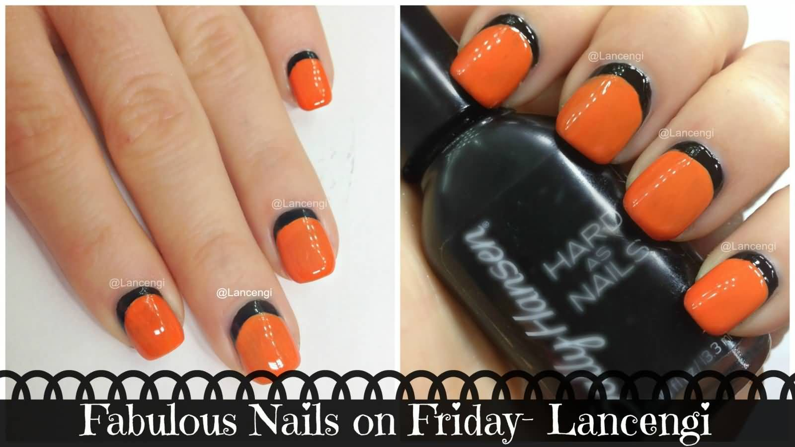 Orange Nails With Black Reverse French Tip Nail Art Video Tutorial ...