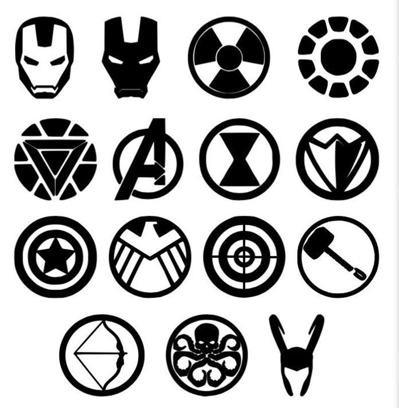 Marvel Silhouettes Shields Logos Vinyl Sticker Vinyl Etsy In 2020 Marvel Paintings Marvel Tattoos Marvel Superhero Logos