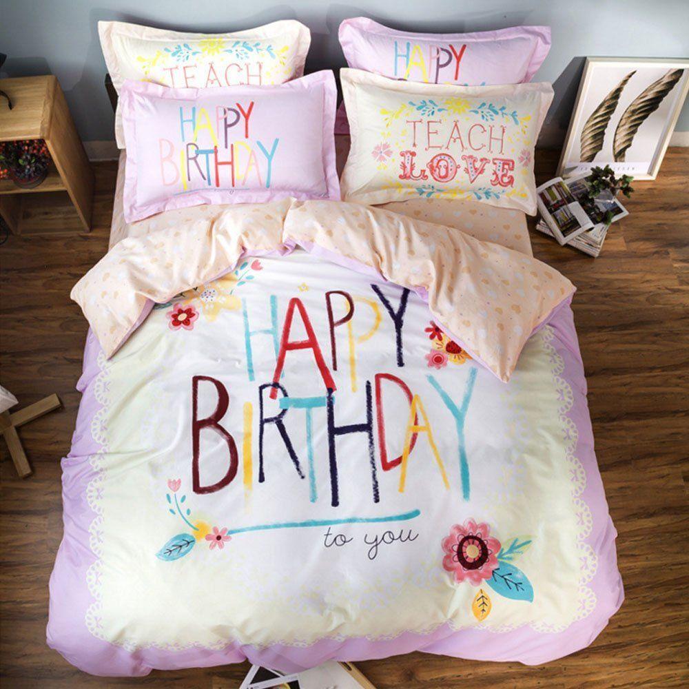children 100 cotton cartoon bedding set 4pcs duvet cover set cute happy birthday duvet cover