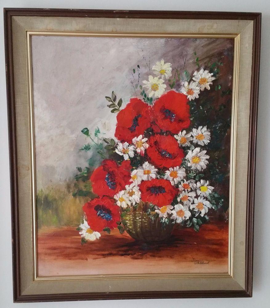 Vintage Poppy Red Flower Oil on Board Artist Signed Jean