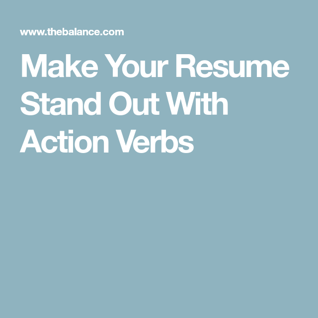 Cover Letters That Stand Out Interesting Make Your Resume Stand Out With Action Verbs  Action Verbs And Action