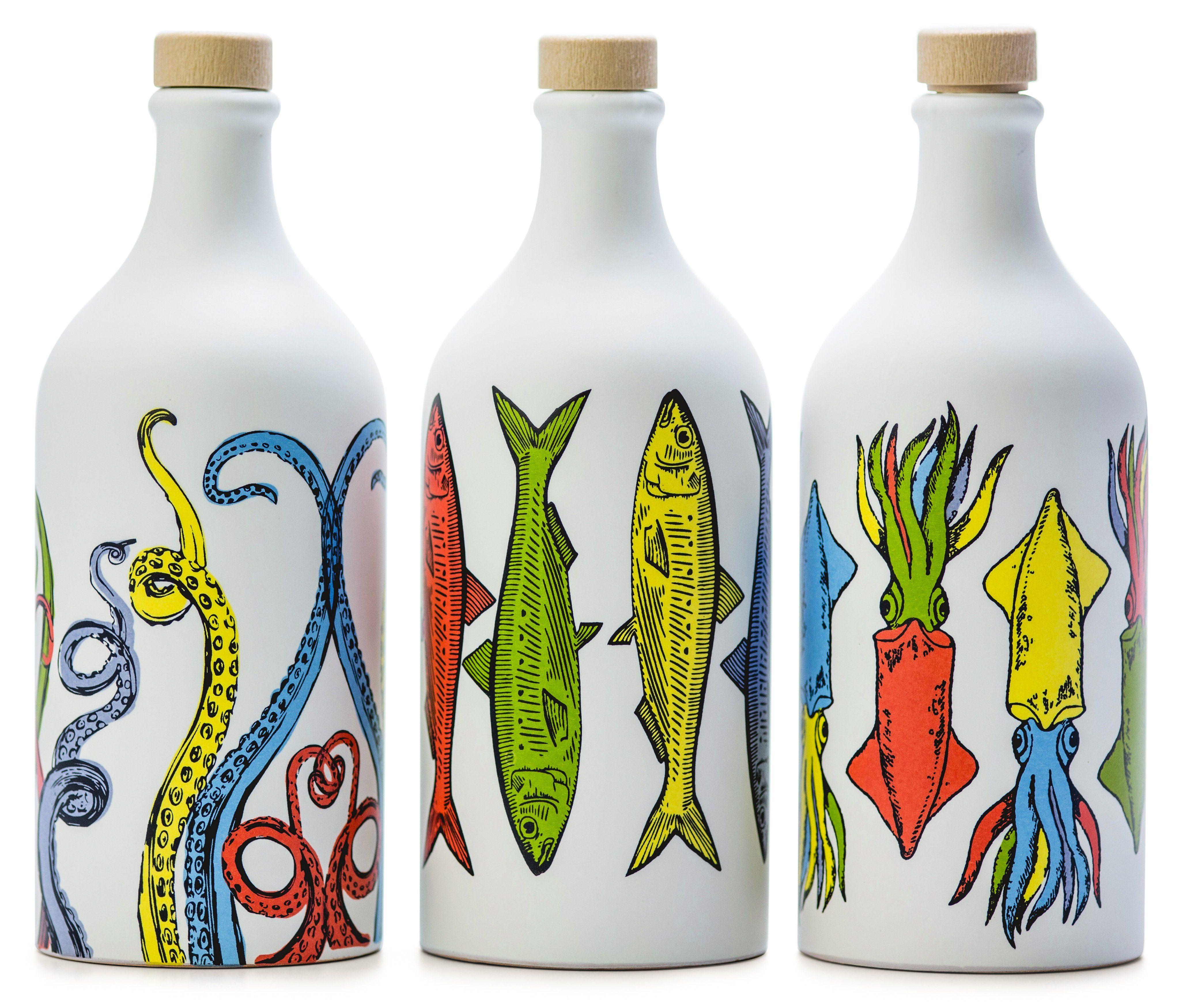 NEW ! Antico Frantoio Muraglia, Extra Virgin Olive Oil, POP ART Collection, Set of 3: Tentacles, Sardines & Cuttlefish, Handmade Ceramic Jars 17 Fl.oz (500 ml)