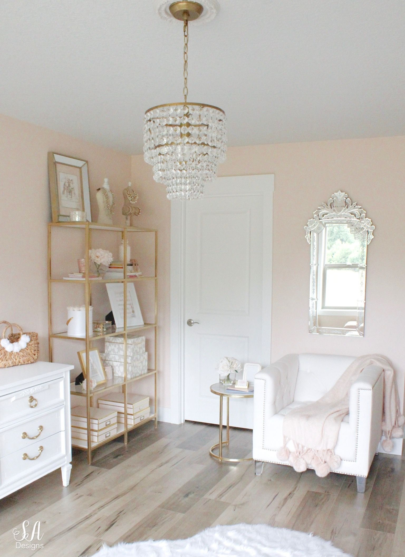 Updated Glam Office Reveal With Blush Pink Walls Pink Bedroom Walls Blush Pink Bedroom Pink Room