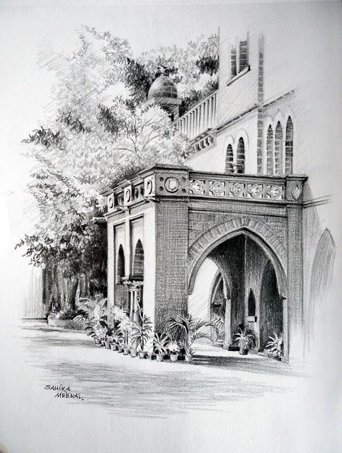 115 Graphite Sketch Front Porch College Of Engineering Pune