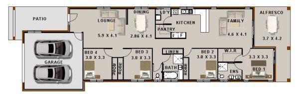 Modern Narrow lot zero lot house plan   4 Bedroom House Plans ...