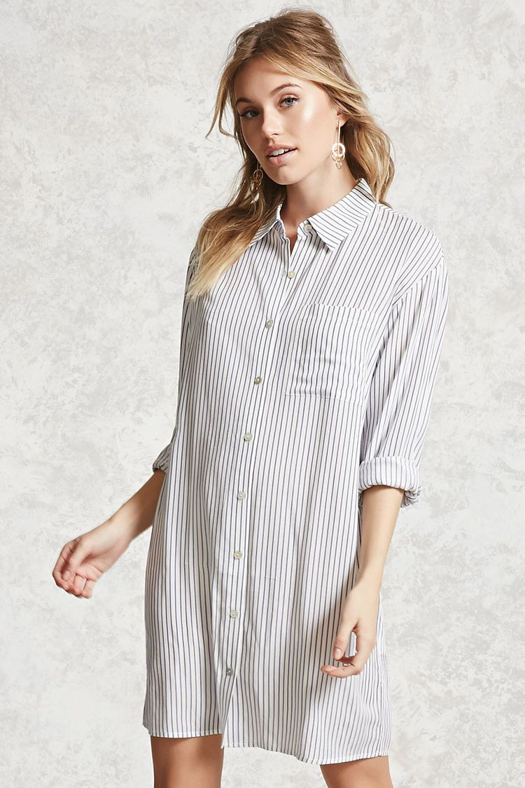 Forever contemporary a woven shirt dress featuring a pinstripe