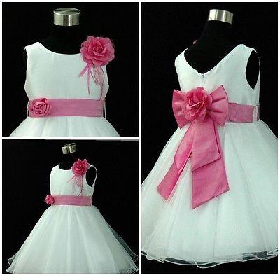 Color de rosa caliente Navidad Boda Fiesta Flor Niñas Vestidos Edad 1,2,3,4,6,7,8,9,10,12Y