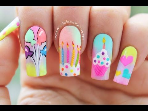 Decoracin De Uas Cumpleaos Happy Birthday Nail Art Youtube