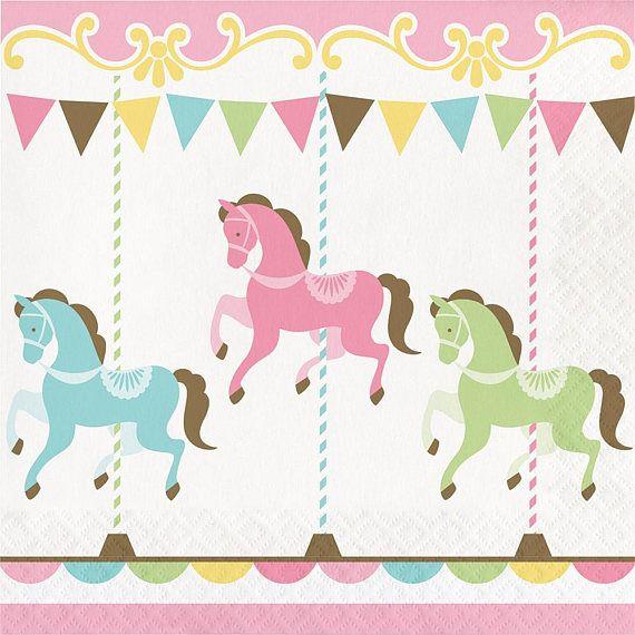 Pastel Carousel Party Napkins/ Carousel Party Napkins
