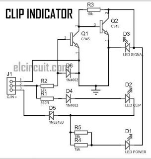 clip indicator for power amplifier led circuit audio amplifier