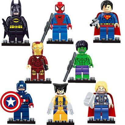 $8.62 (Buy here: http://appdeal.ru/4z8q ) Super Heroes Figures 8pcs/lot Iron Man Hulk Batman Thor Building Blocks Sets Minifigure Toys Bricks Compatible with Lego Marvel for just $8.62