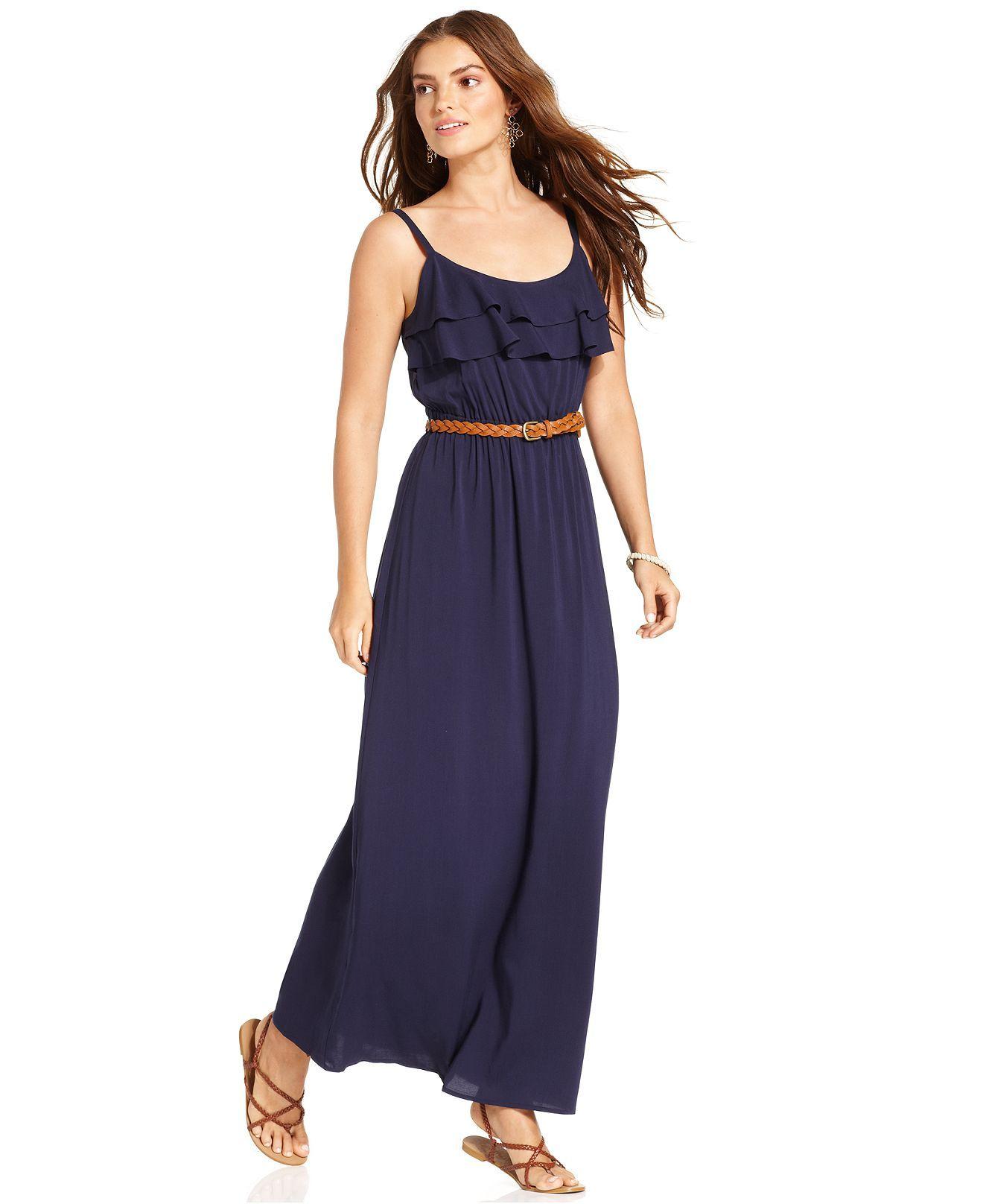 AGB Dress, Spaghetti Strap Ruffle Belted Maxi  - Macy's