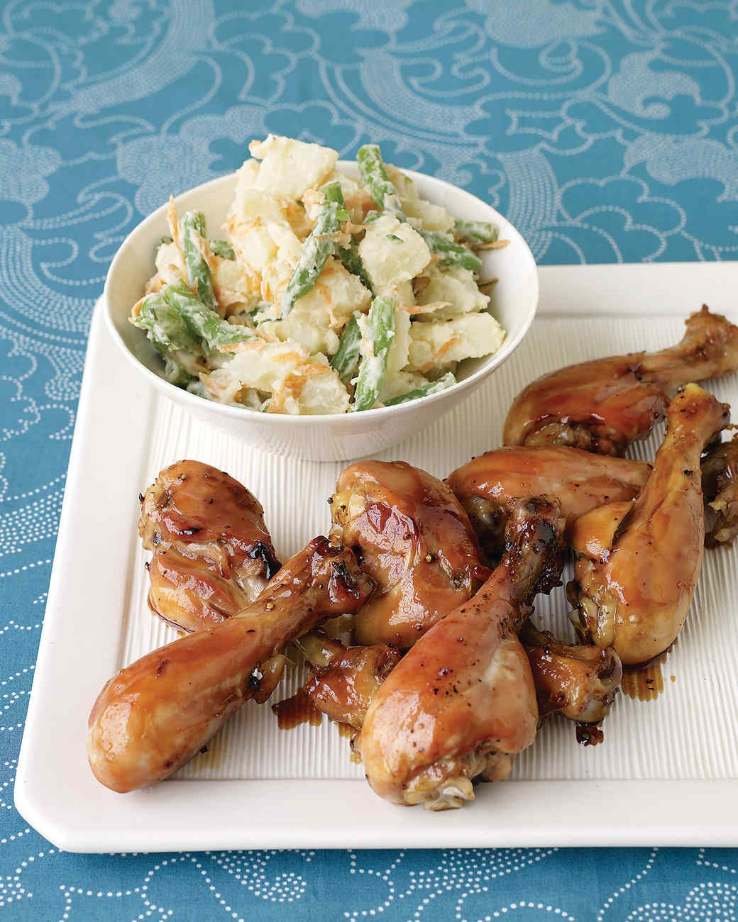 Honey, soy sauce, and a splash of water make a simple sticky glaze. Lining the pan with aluminum foil eases after-dinner clean-up. Serve these lightly sweetened drumsticks with our Warm Potato-Veggie Salad for a delicious family-friendly meal.