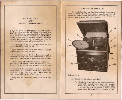 Edison Phonograph How To Make Records At Home Instruction Manual Reproduction