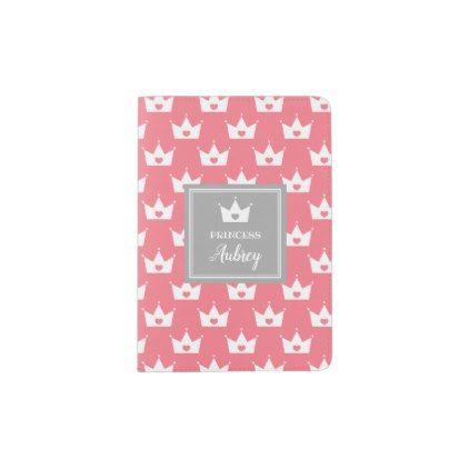 pink princess crown pattern calligraphy name passport holder