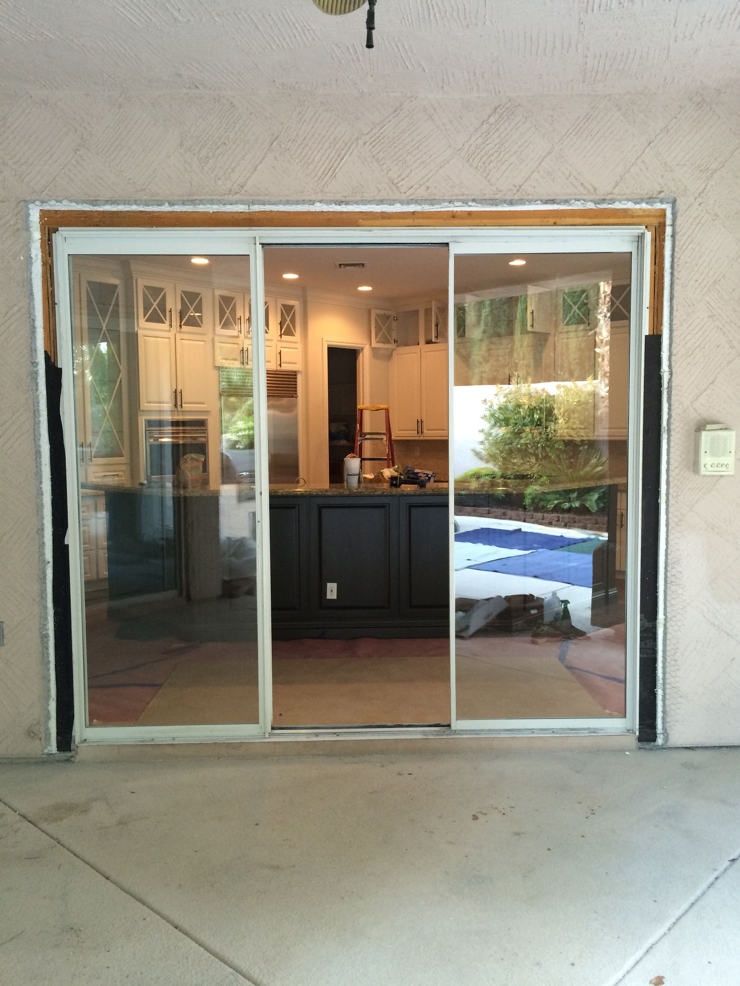 Three Openings 9 8 And 5 Foot Wide 8 Foot Tall We Replaced These Sliding Glass Doors With La Cantina Fold Out Sliding Glass Door Closet Decor Closet Doors