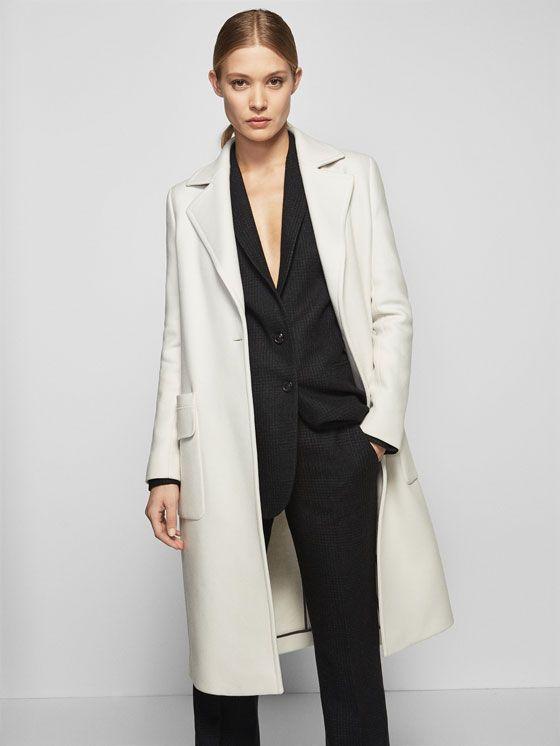 SMART OFF-WHITE DRESS de WOMEN - Coats de Massimo Dutti de Otoño Invierno  2016 por 199. ¡Elegancia natural! f79c0c140c
