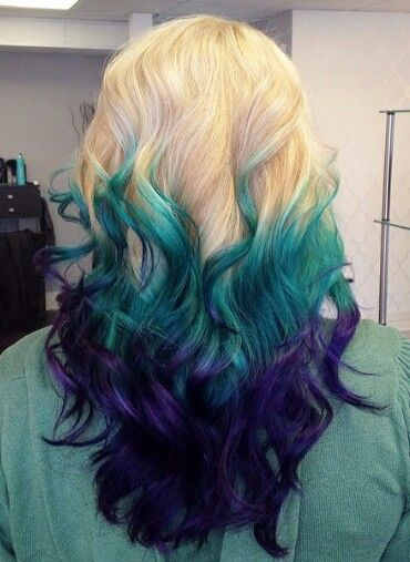 Blonde Teal Blue Purple Dyed Ombre Hair Color Iluvpibbles Hair