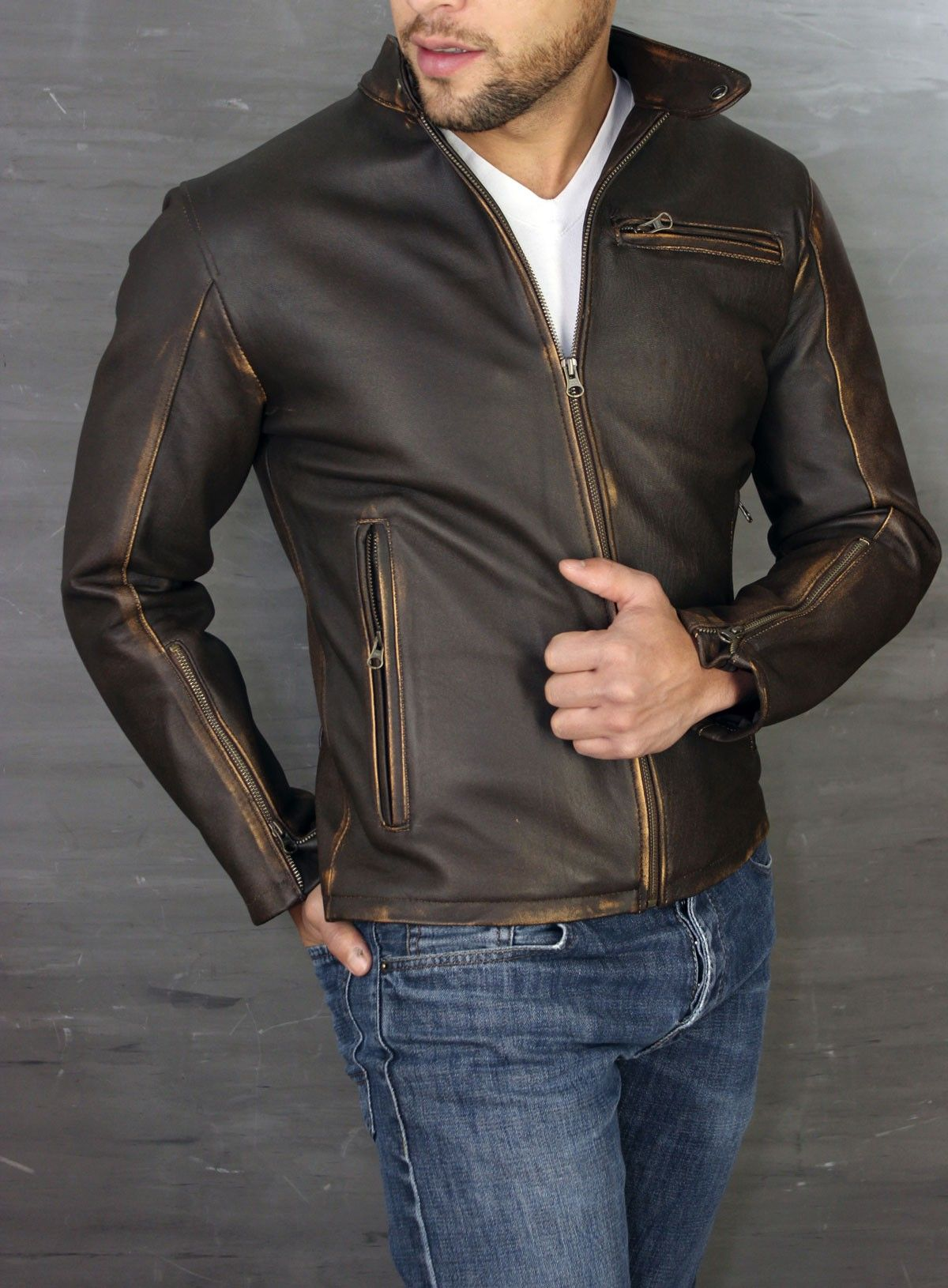 3a162c44 R79 Leather Jacket Distressed Brown Vintage Fit - Motorcycle Cafe ...