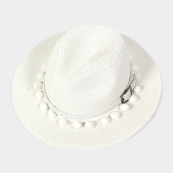 afd2c8e31b511 White Pom Pom braided leather belted panama hat Sun by 3StoresDown Braided  Leather Belt