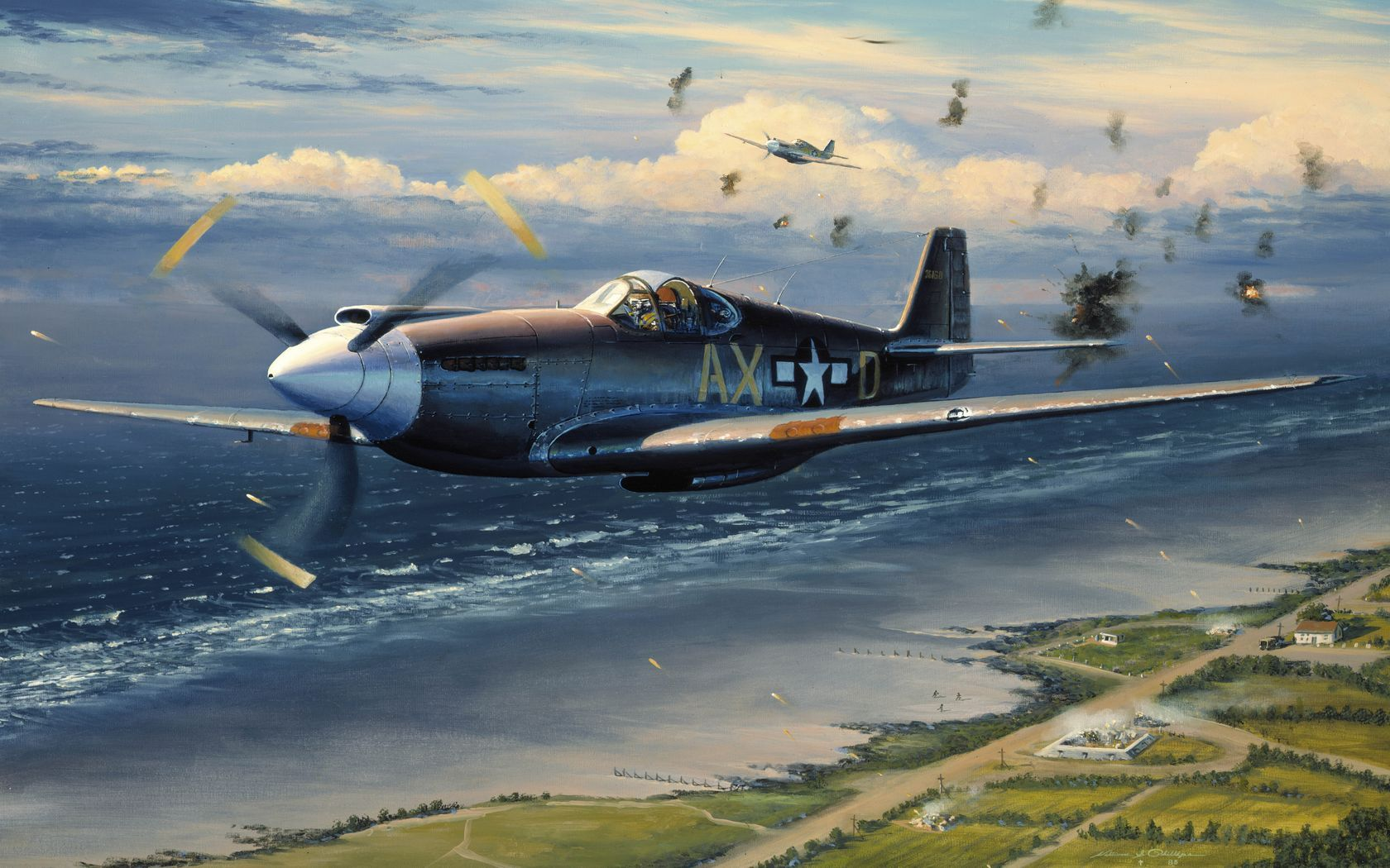 paintings artistic world war ii planes p-51 b mustang / 1680x1050