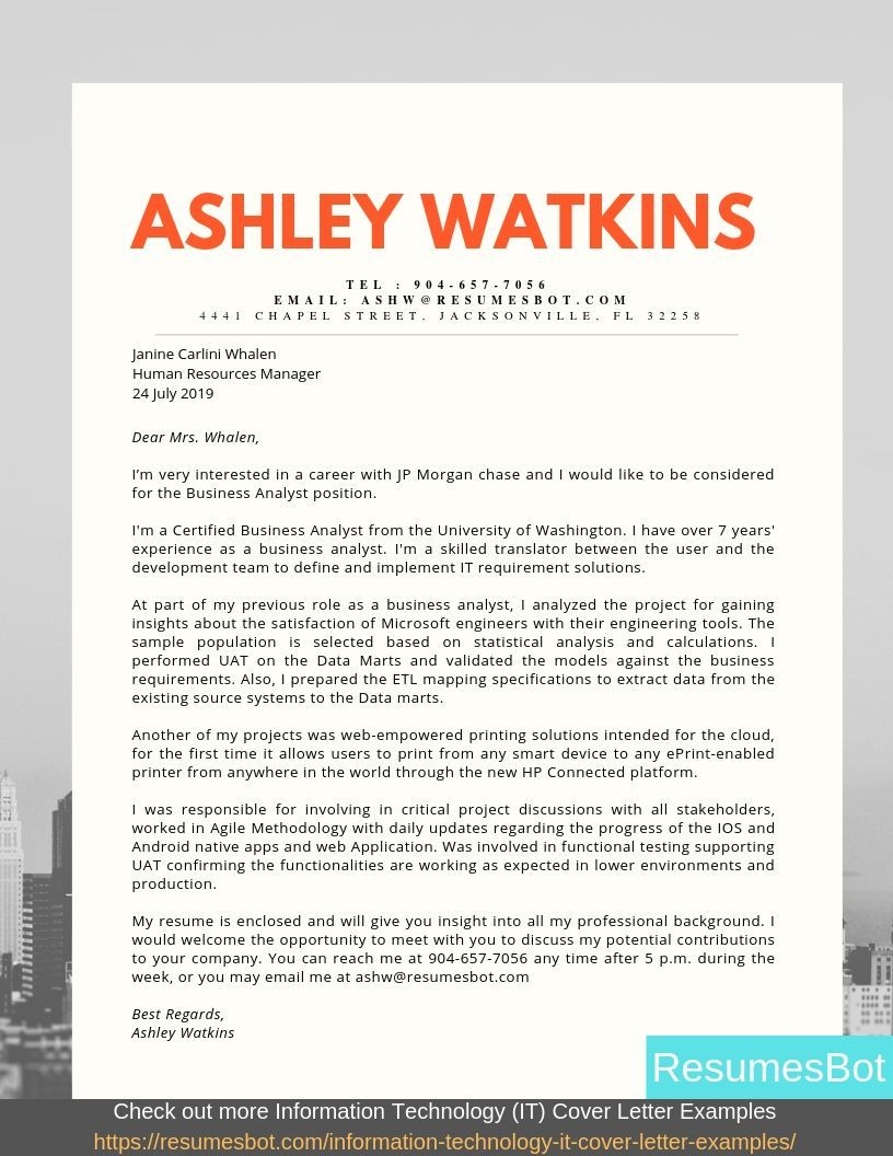 Business analyst cover letter samples templates pdf