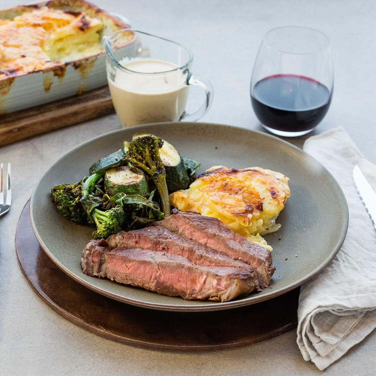 Steak with Green Peppercorn Sauce and Gratin Dauphinois