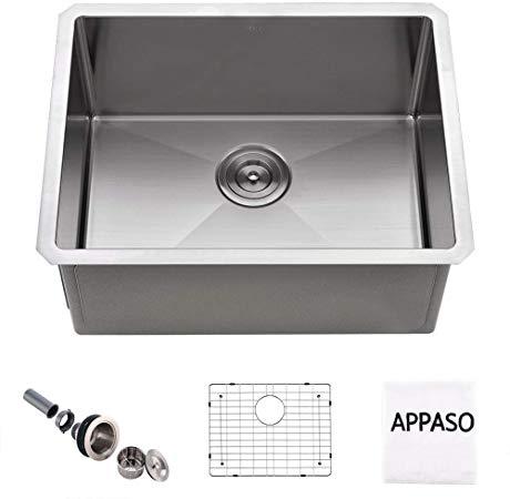 Appaso 23 Inches Single Bowl Kitchen Sink Undermount 16 Gauge