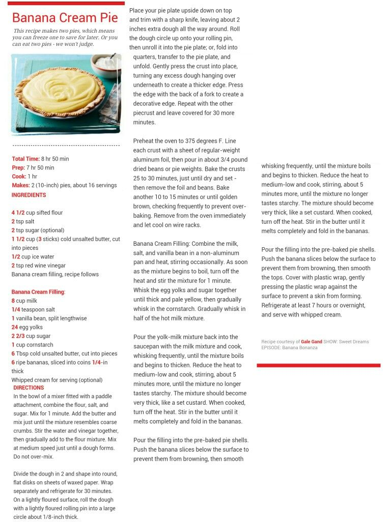 Banana Cream Pie Banana Cream Pie Recipe Cards Pie Plate