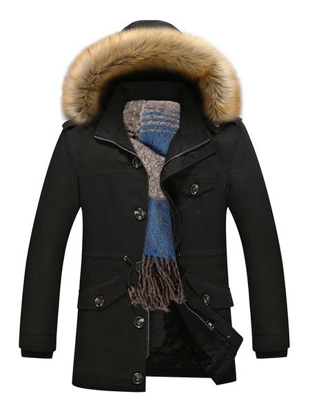 YONGM Men Hooded Faux Fur Lined Outwear Winter Jackets