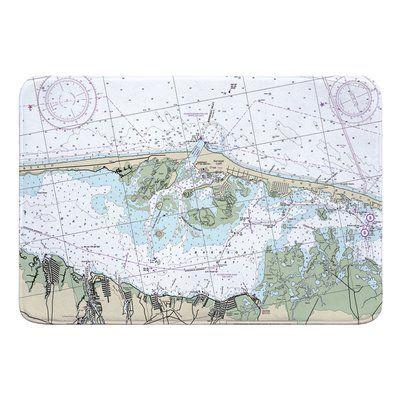 Breakwater Bay Nautical Chart Barnegat Light Harvey Cedars Nj Bath Rug Nautical Chart Memory Foam