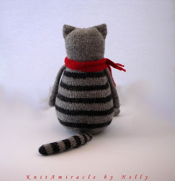 Toy cat knitting pattern PDF / animal knitting pattern / knitted ...