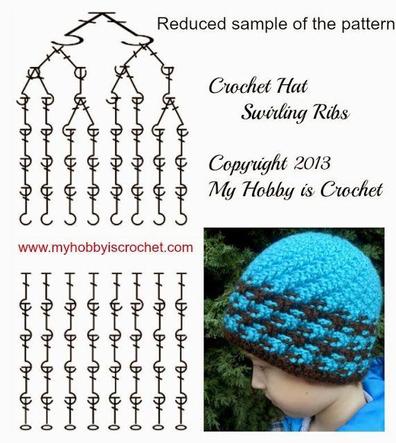 Charted Pattern Crochet Hat Swirling Ribs . Written pattern with ...