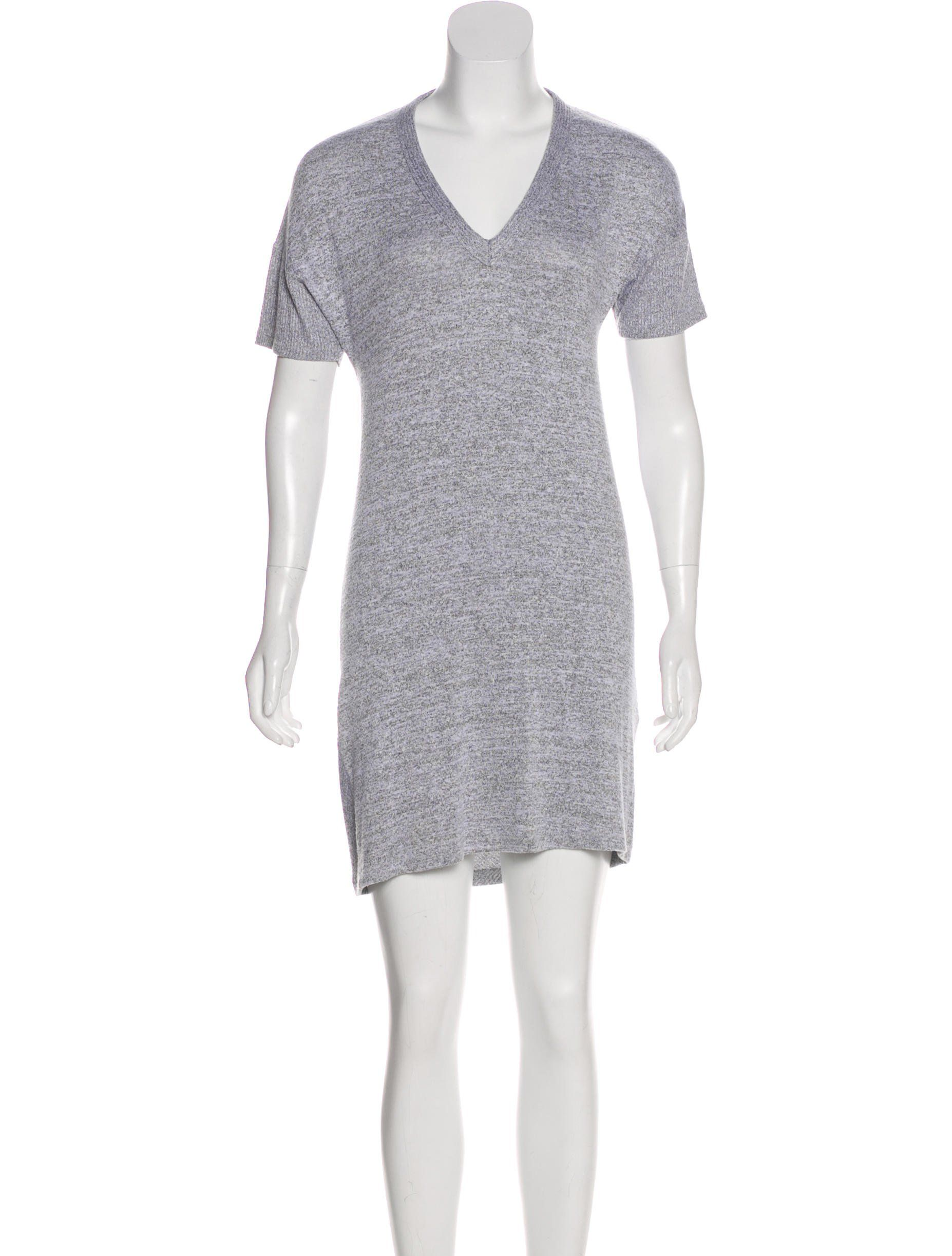 Heather Grey Rag Bone Mini Sweater Dress With V Neck Short Sleeves And Rib Knit Trim Sweater Dress Mini Sweater Dress Dresses [ 2446 x 1854 Pixel ]