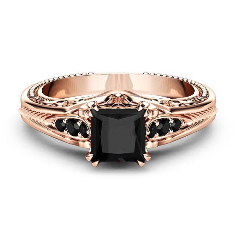 Gorgeous Women Rose Gold Filled Wedding Rings 2 10ct Black Sapphire Size 6 10 Huitan Fashion Black Sapphire Ring